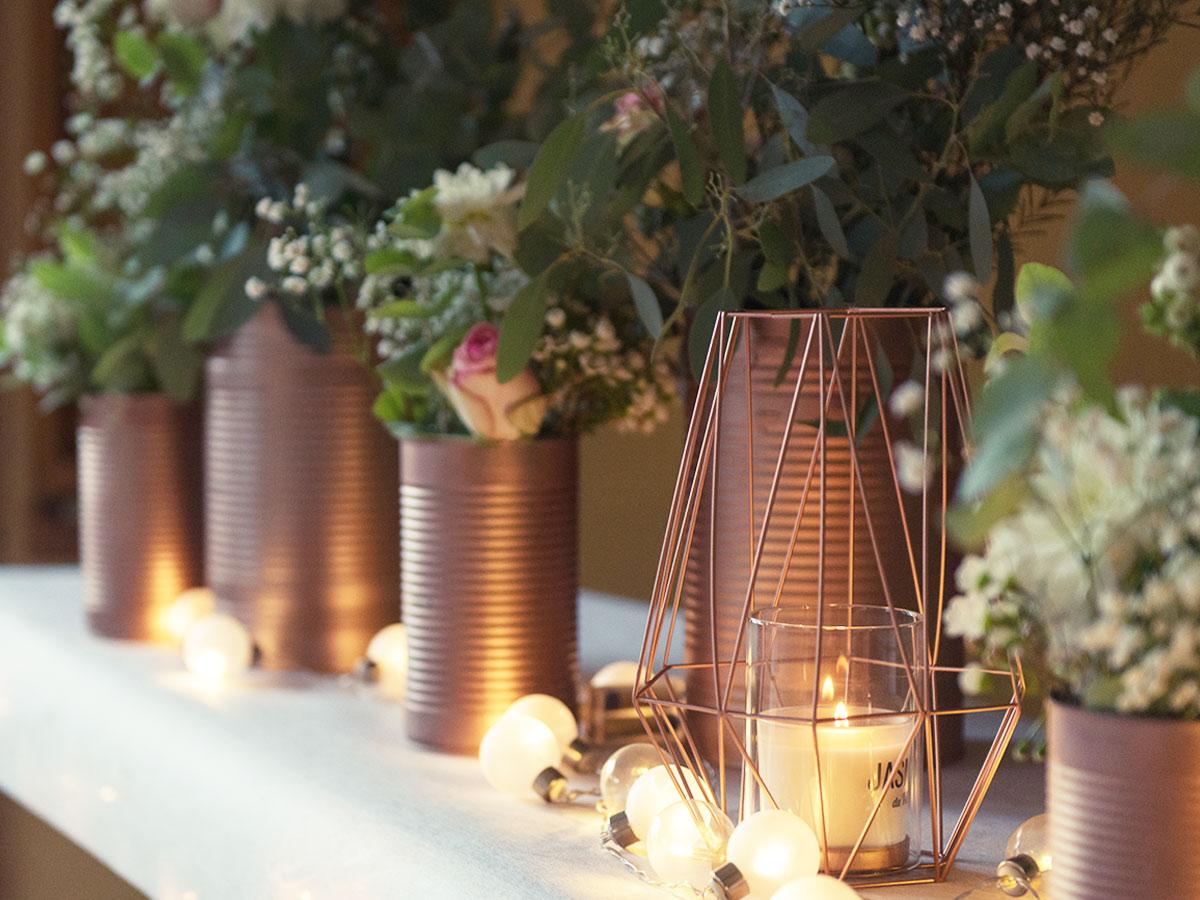 décors mariage cuivre